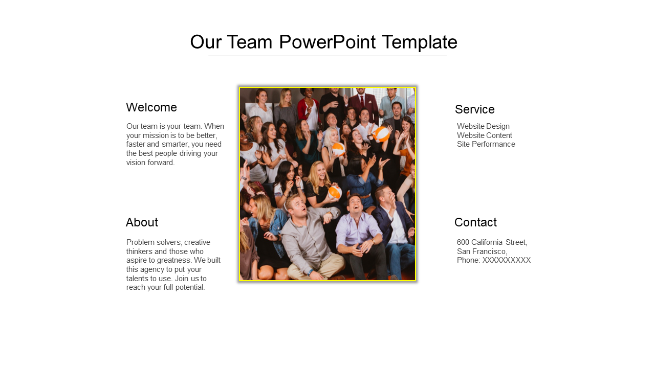 Our Team PowerPoint Template For Business Meeting