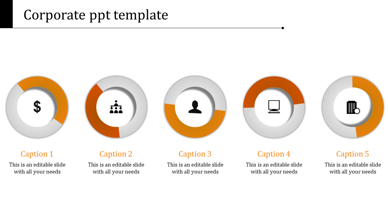 A Five Noded Corporate PPT Templates