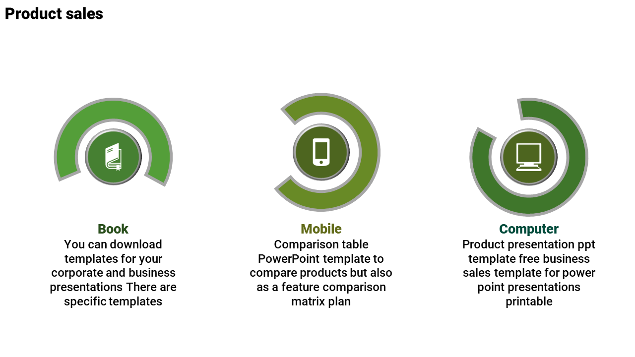 Free-product Comparison PPT Template - Semi-Circle Model