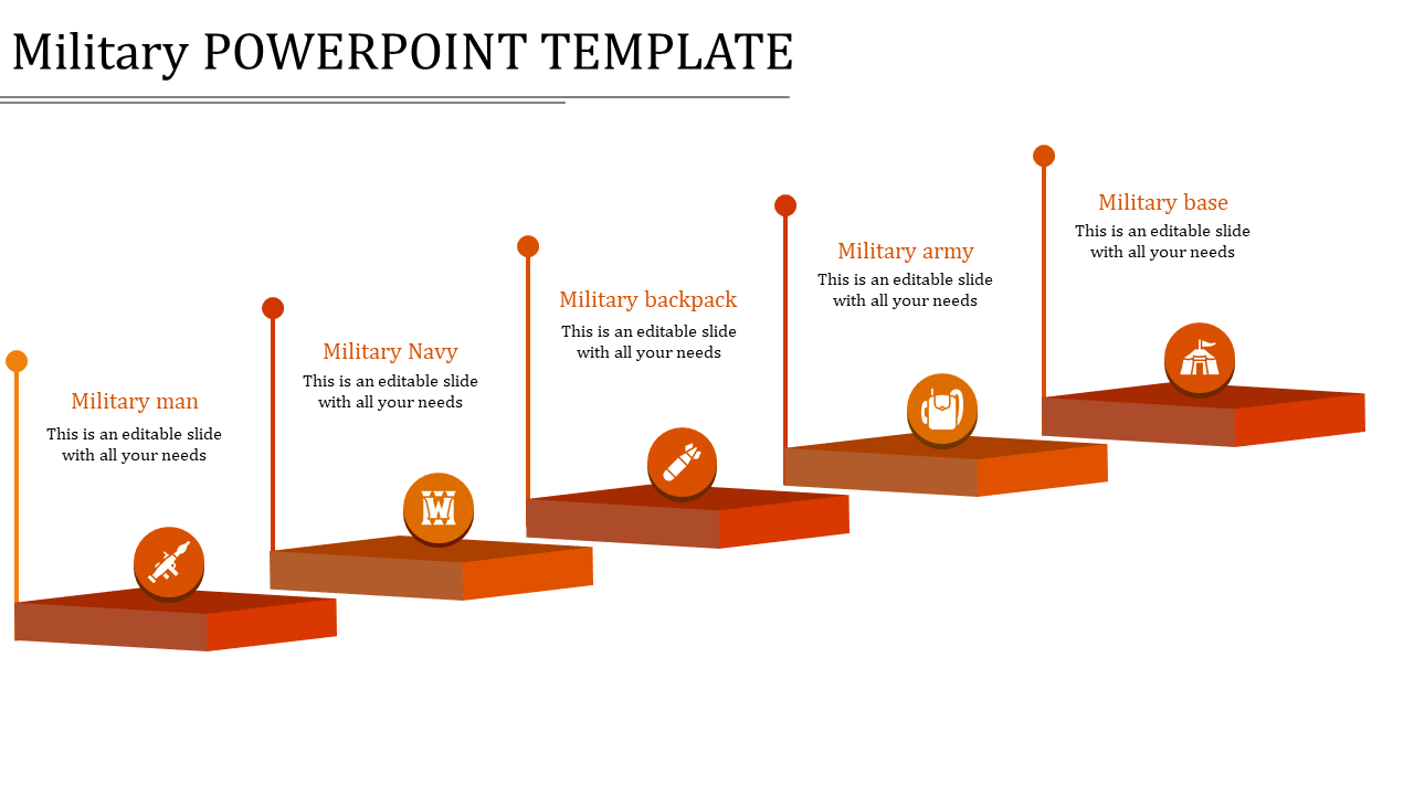 Military Powerpoint Template 5 Red Stages