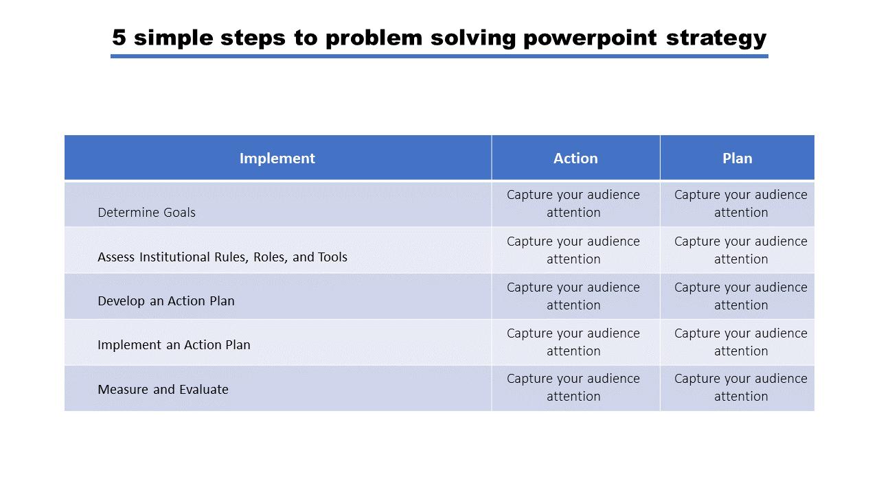 Problem Solving Powerpoint Template 3 Columns