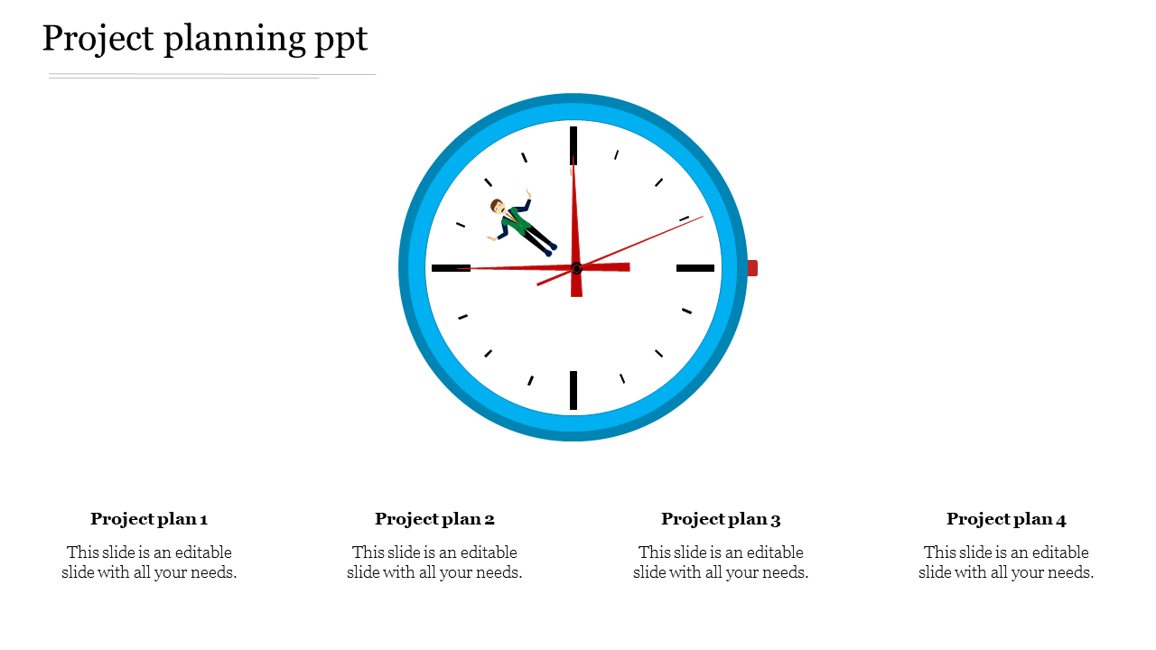 Project Planning PPT With Clock Design