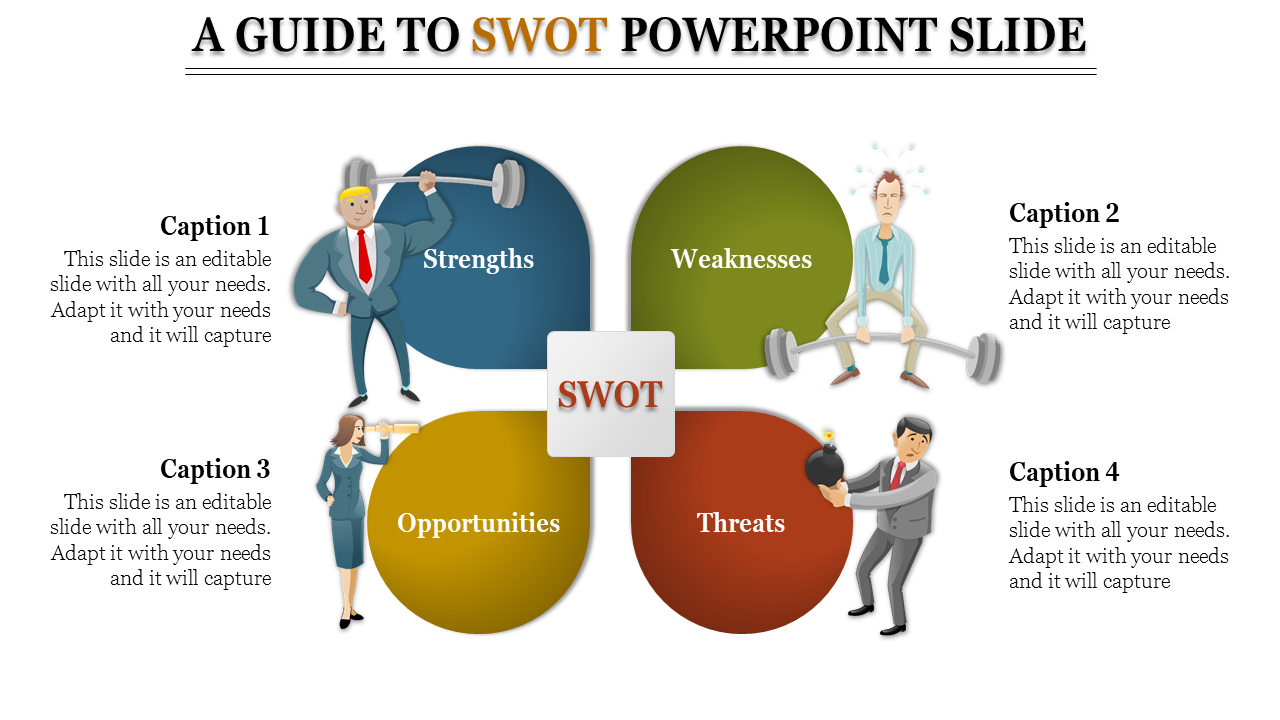 Highlighted SWOT Powerpoint Slide