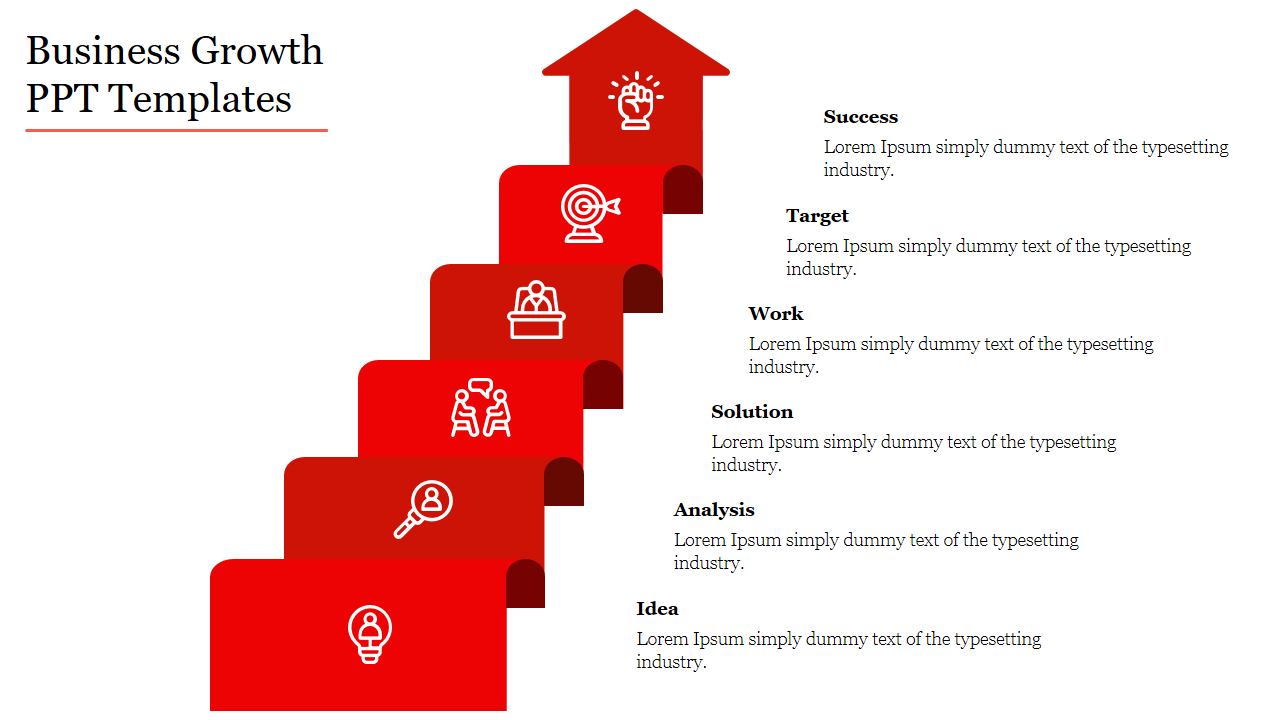 A Five Noded Business Growth PPT Templates
