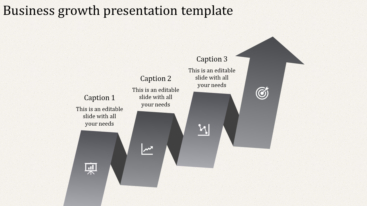 A Three Noded Business Growth PPT Templates