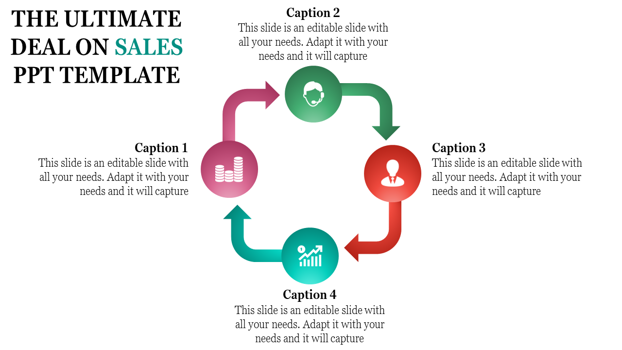 Sales Powerpoint Template Four Stage Process Flow