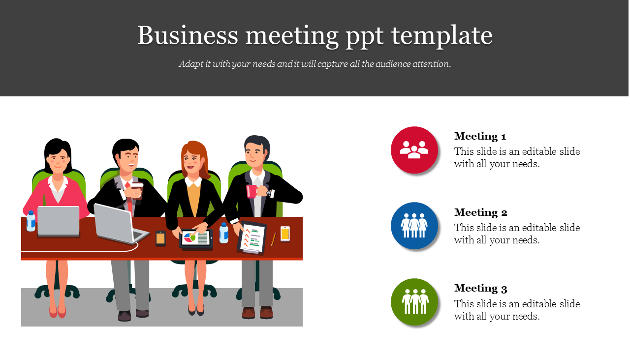 A Three Noded Business Meeting Ppt Template