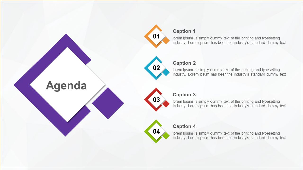 Diamond Shape Agenda Powerpoint Design