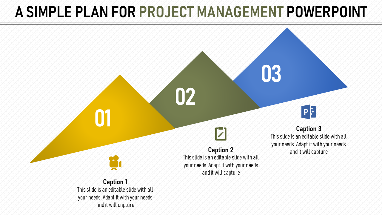 Project Management Powerpoint With Multi Color Three Triangle