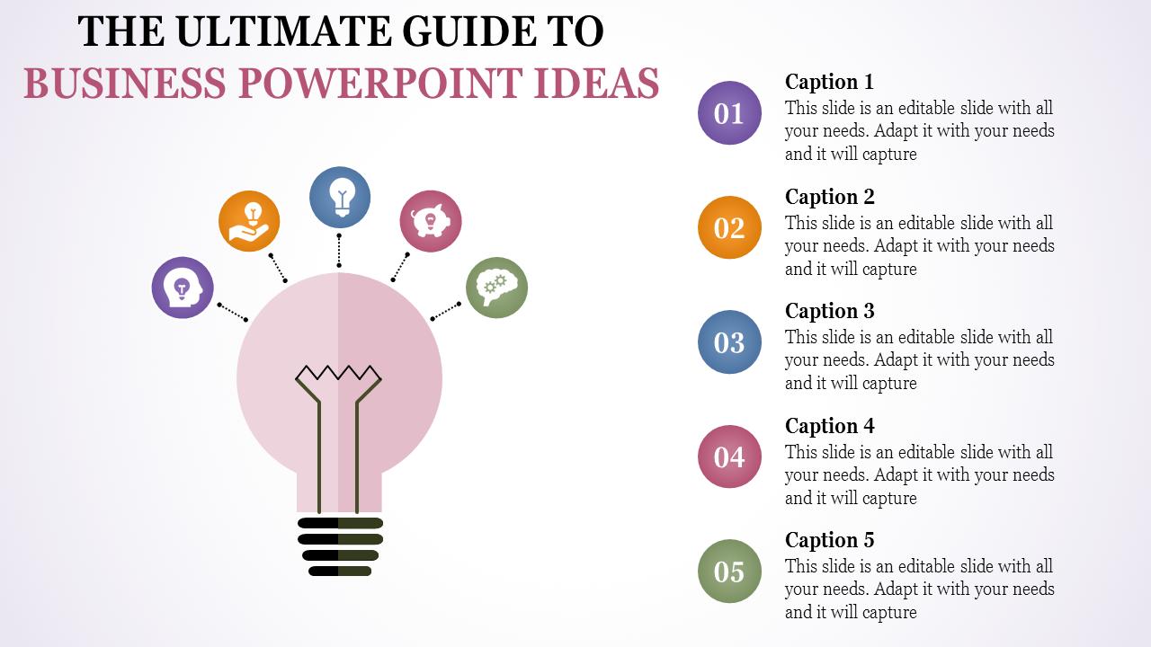 Business Powerpoint Ideas - Pink Bulb