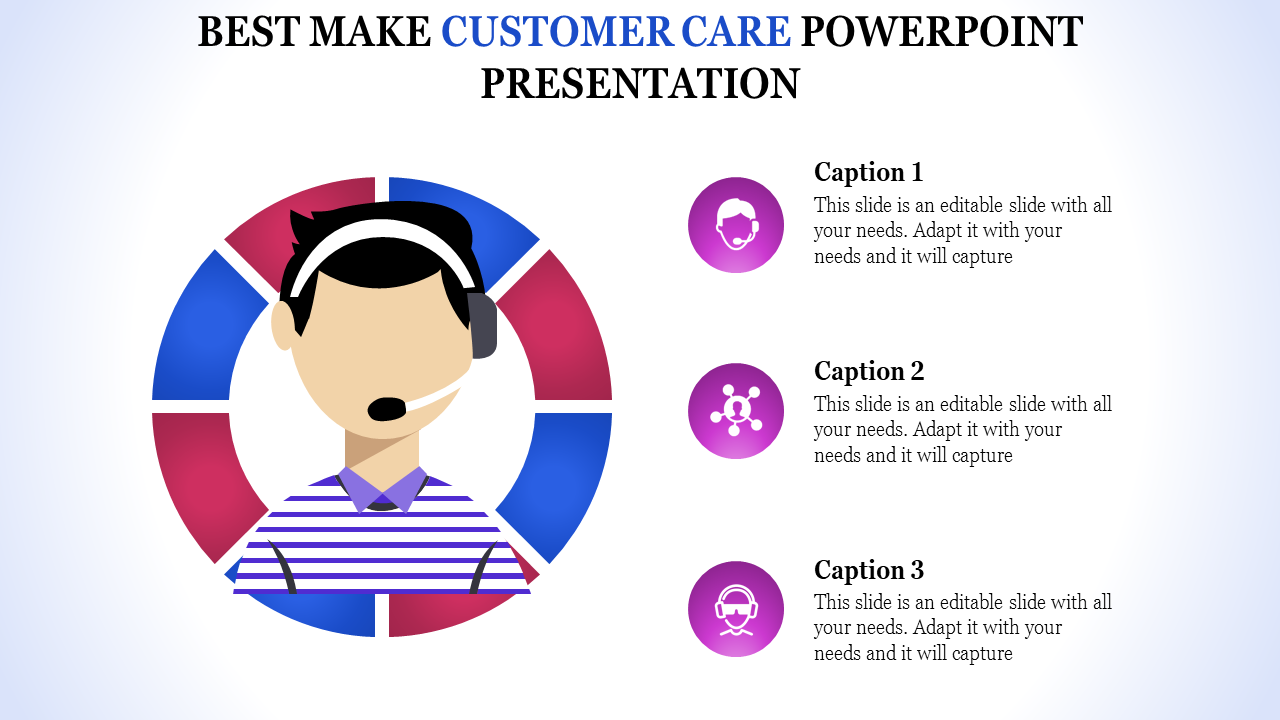 Free - Customer Care Powerpoint Presentation With Human Icons