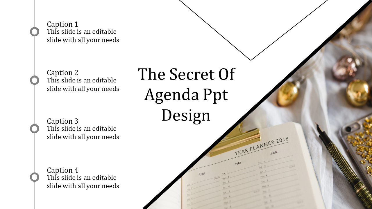A One Noded Agenda PPT Design