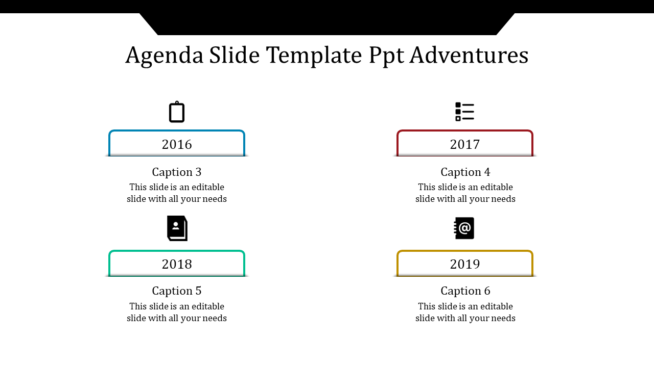 A Four Noded Agenda Slide Template PPT