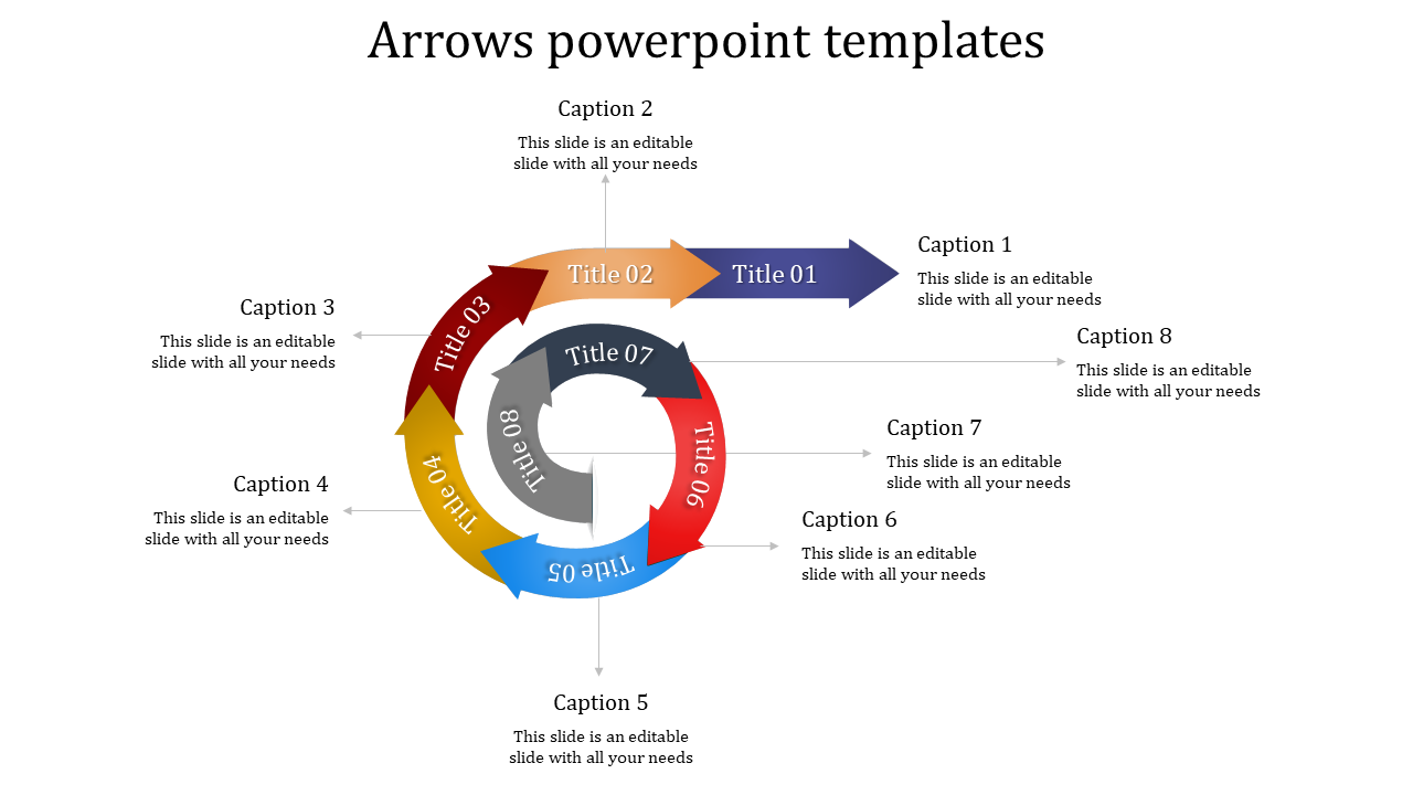 A eight noded arrows powerpoint templates