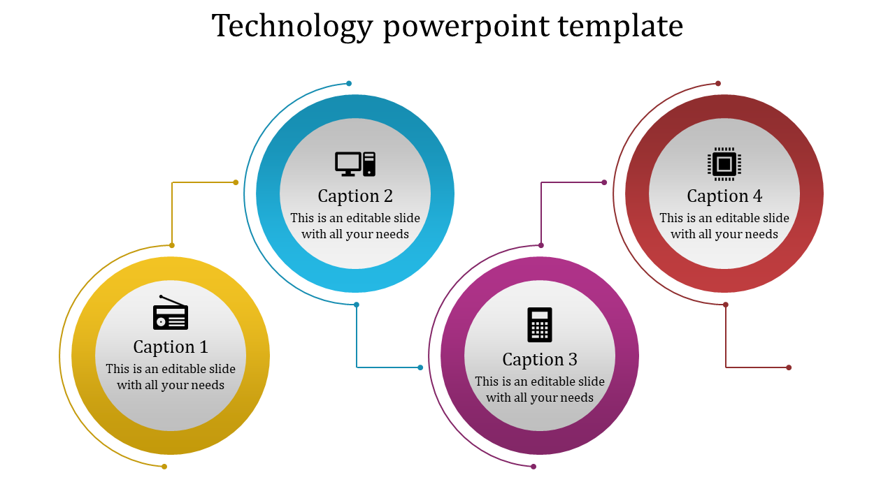 A four noded Technology powerpoint template