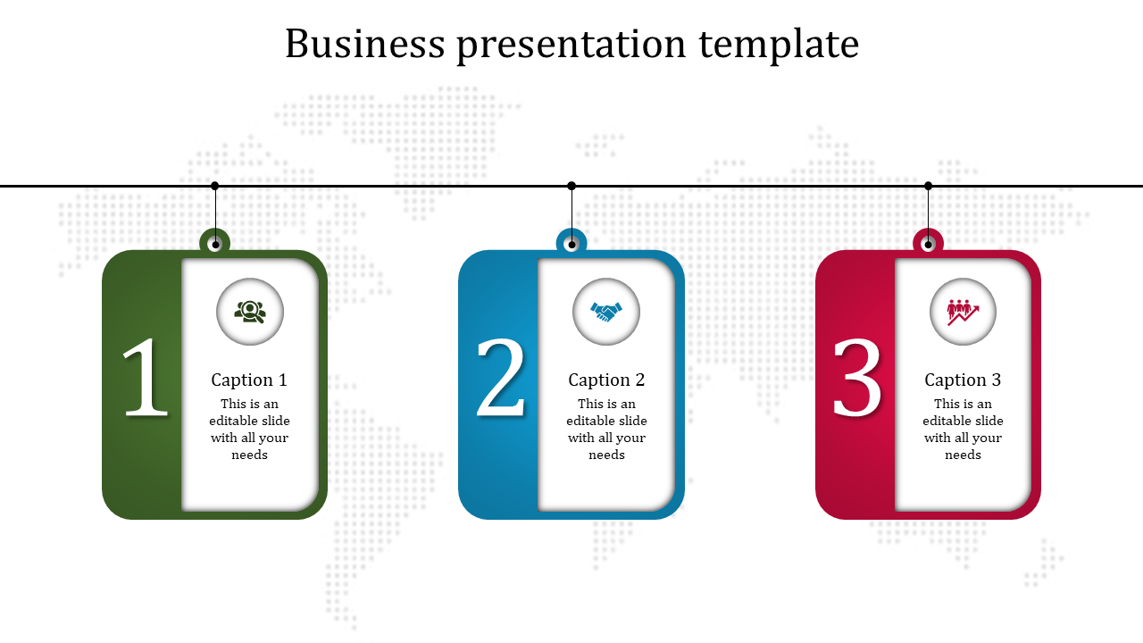 Three Multicolor Banner Business Presentation PowerPoint