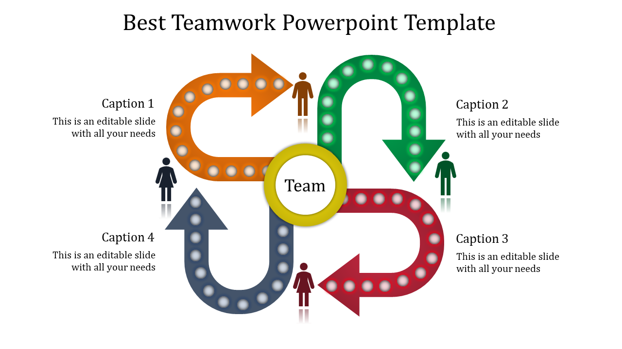 Teamwork Powerpoint Template - U Turn Arrows Model