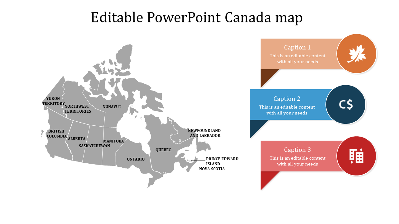 Free Editable Map Of Canada A three noded editable powerpoint canada map  SlideEgg