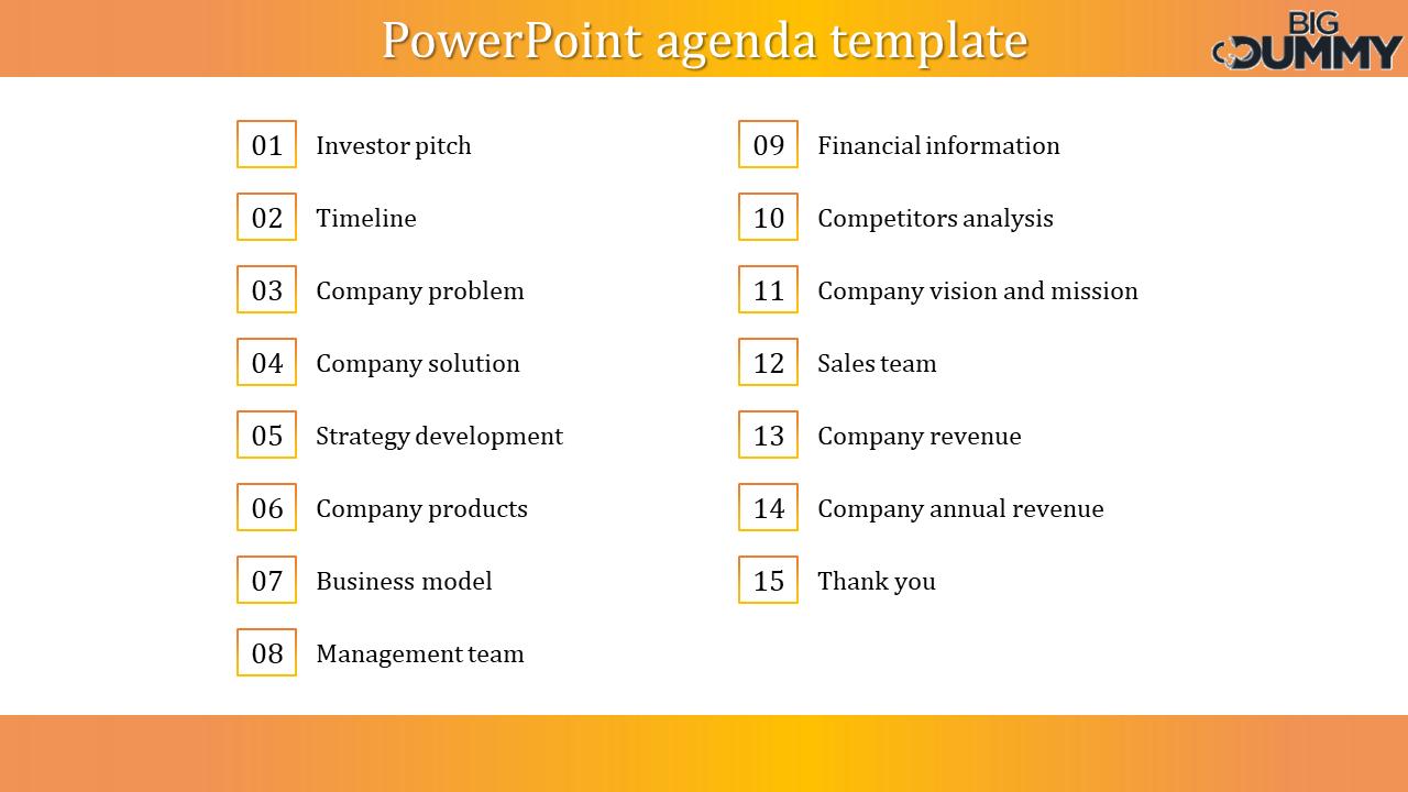 Company PowerPoint Agenda Template