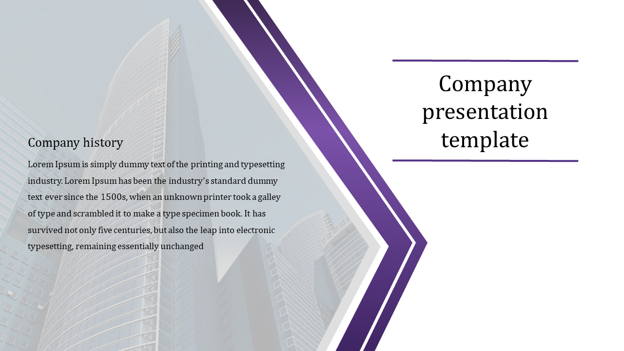 History of company presentation template