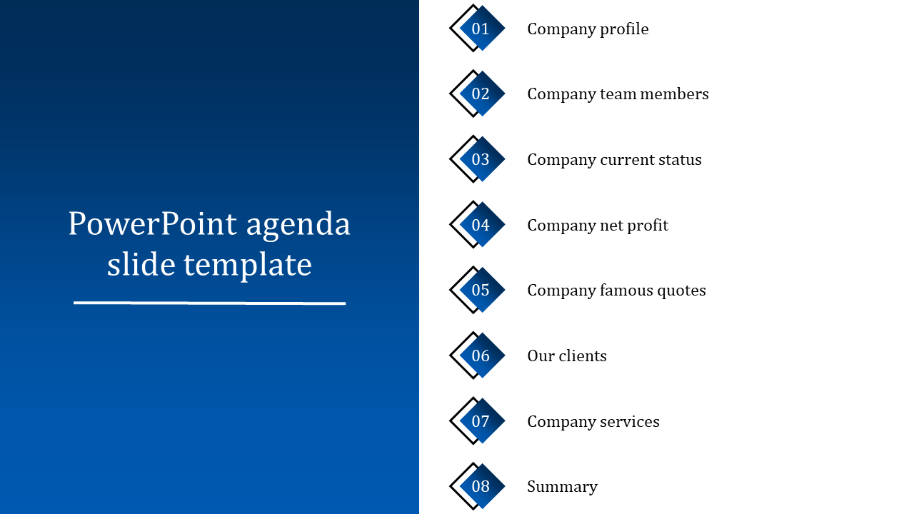 Sample PowerPoint agenda slide template