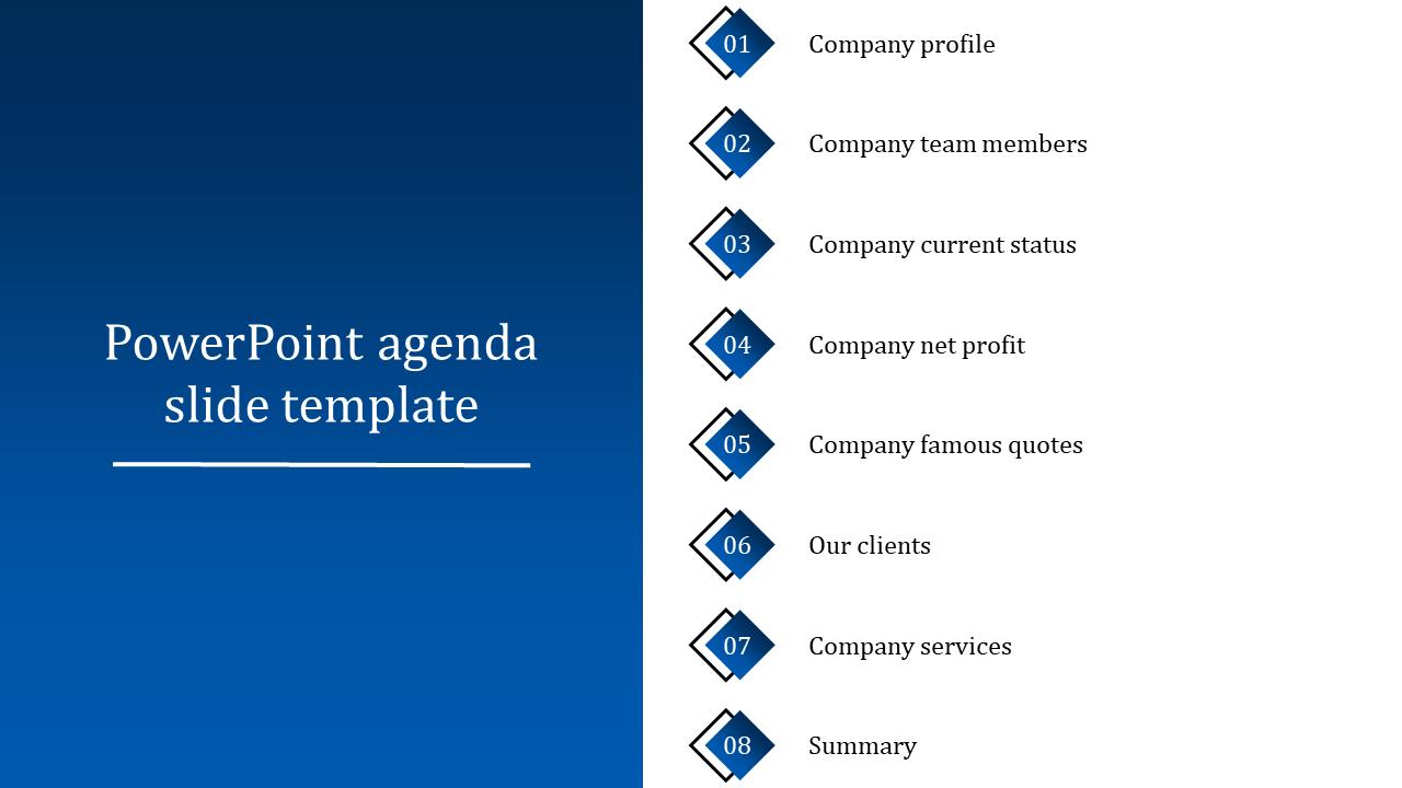 Sample PowerPoint Agenda Slide Template