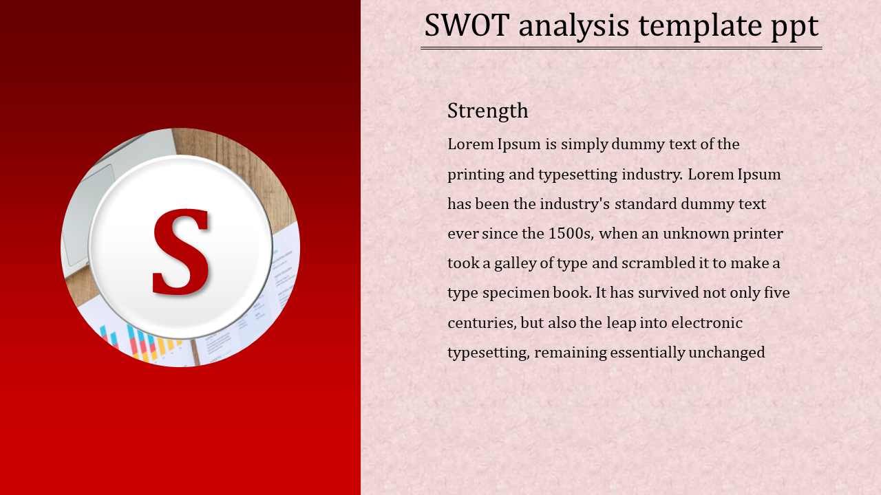 Strength SWOT analysis template PPT