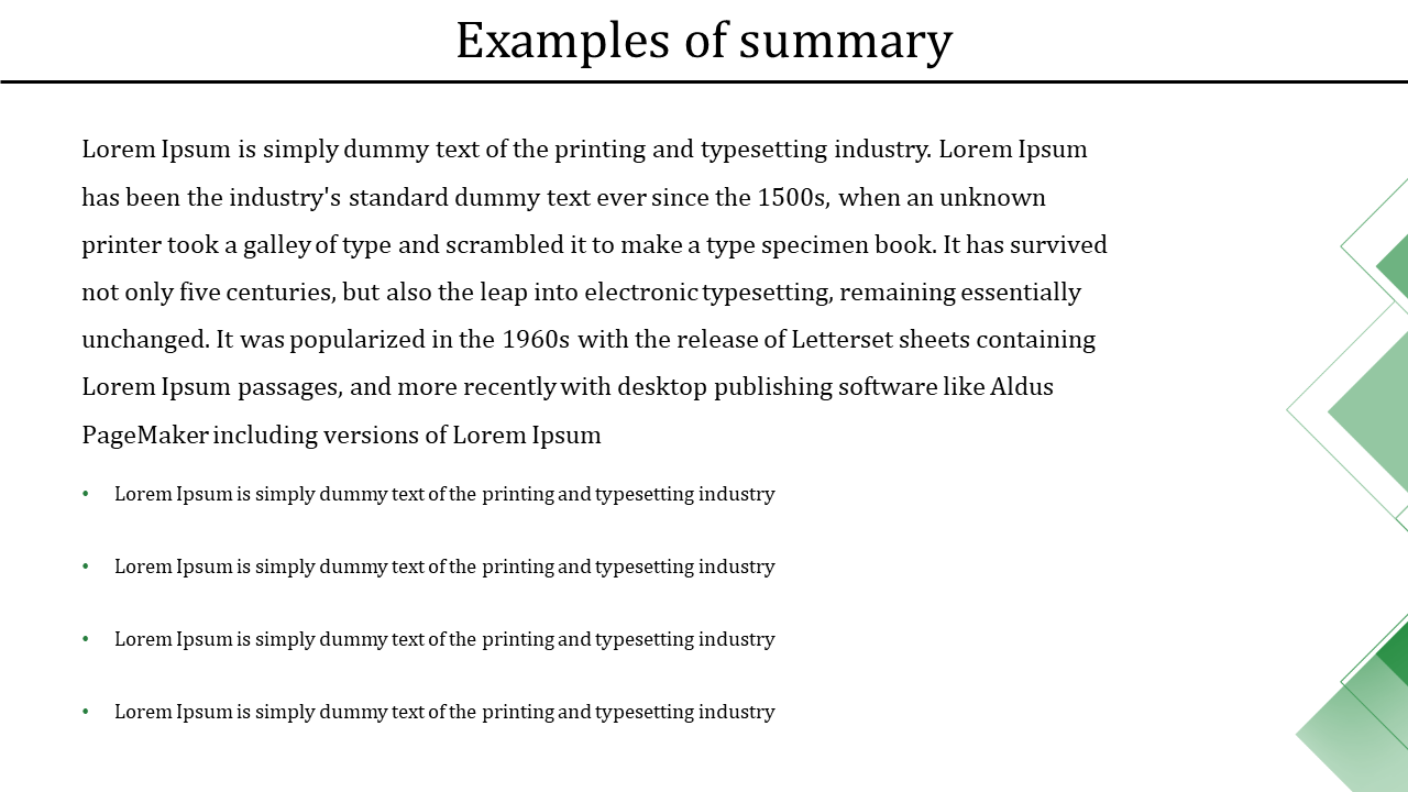 Brief summary template PPT