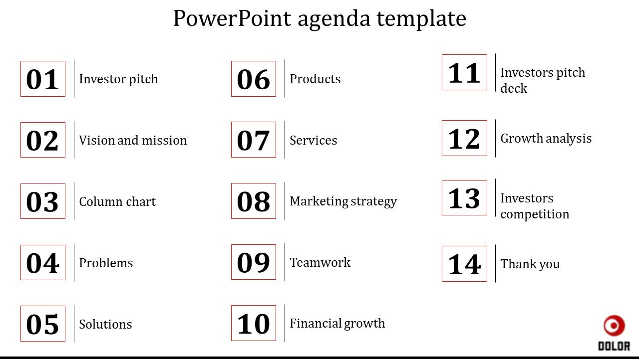 Easy Powerpoint Agenda Template