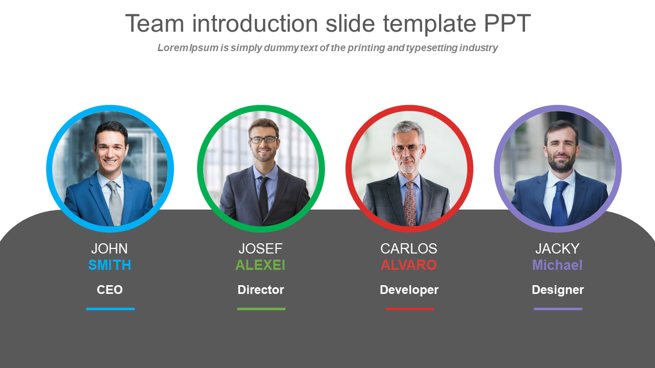 Team Introduction Slide Template Ppt