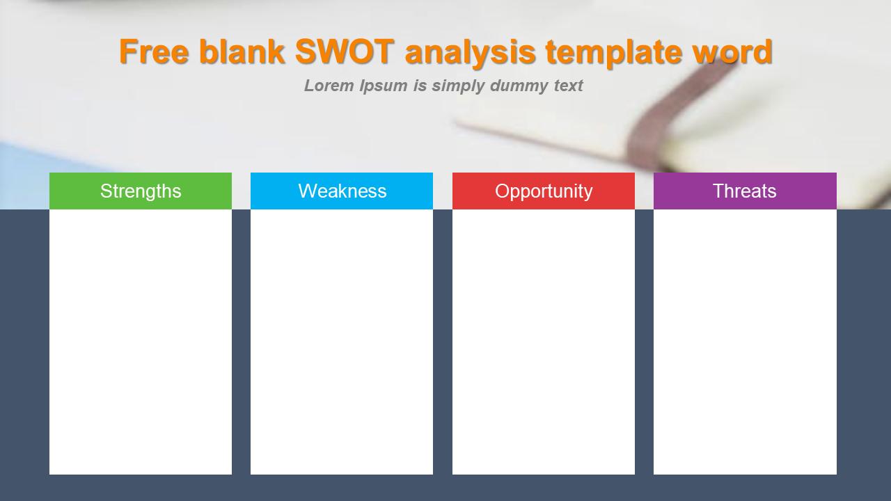 Blank Swot Analysis Template Word Model Slideegg
