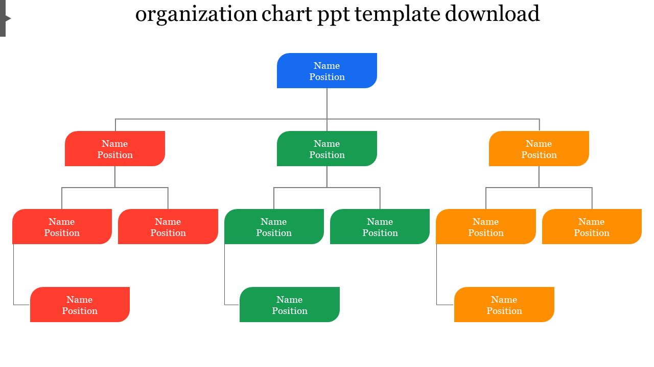 Flow Model Organization Chart PPT Template Download