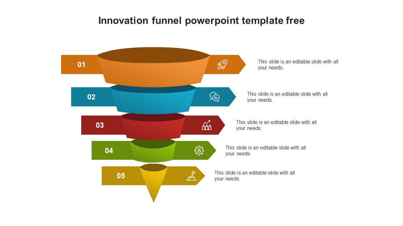 Innovation Funnel Powerpoint Template Free Designs For Customers Slideegg