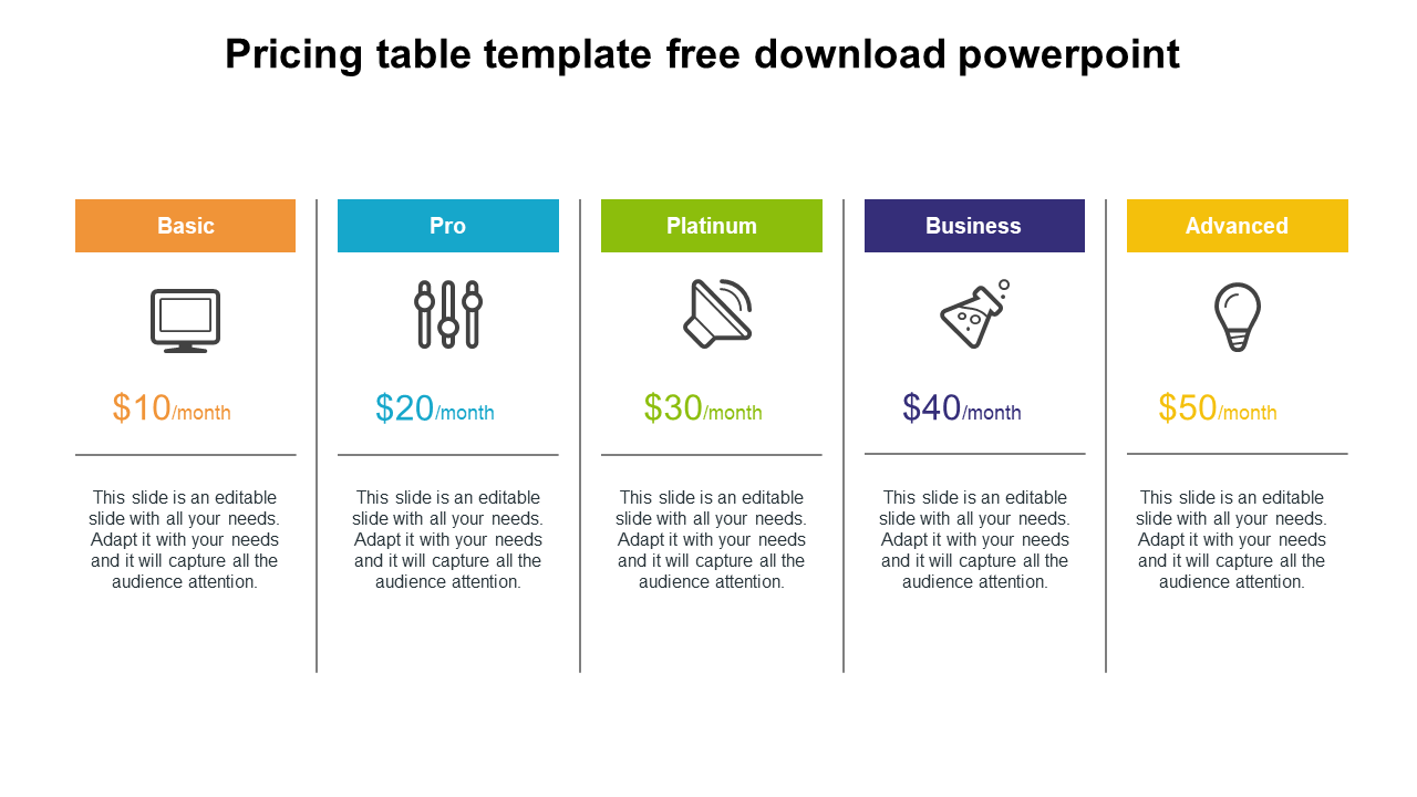 Free - Strategy For Pricing Table Template Free Download Powerpoint