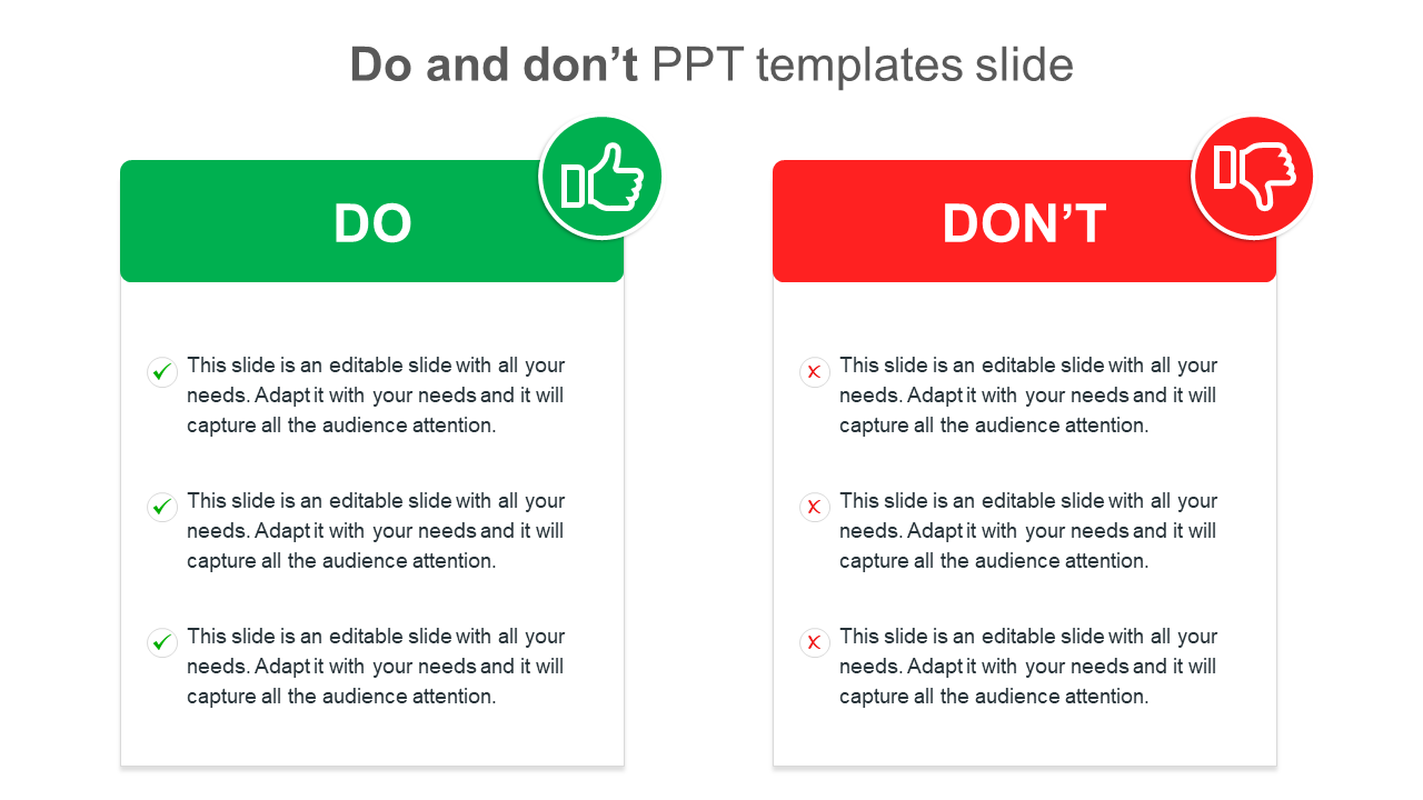 Do And Don't PPT Templates Slide Design