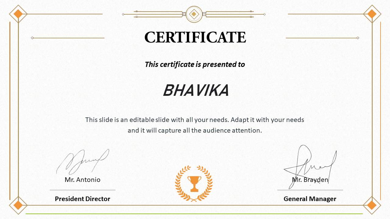 Certificate Template PPT Free Download Slide With Regard To Powerpoint Certificate Templates Free Download