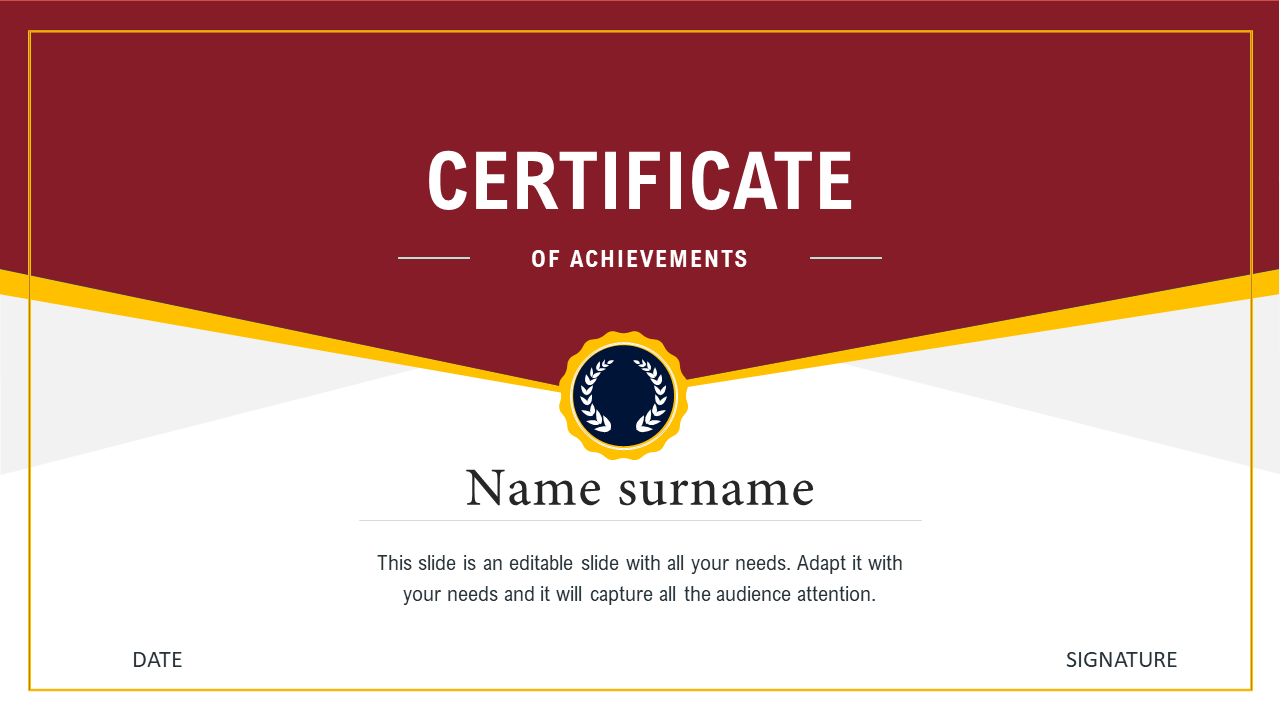 Awesome Certificate Template Free Download PPT For Powerpoint Certificate Templates Free Download