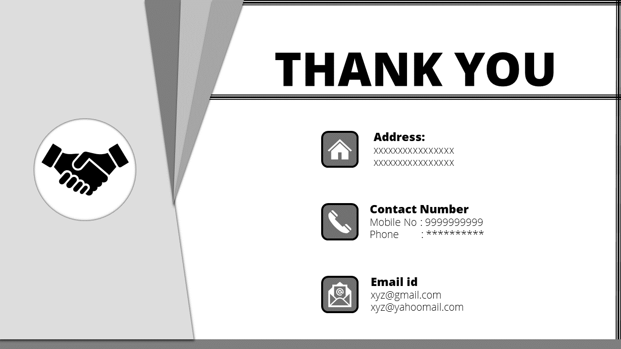 Black themed thank you slide for powerpoint