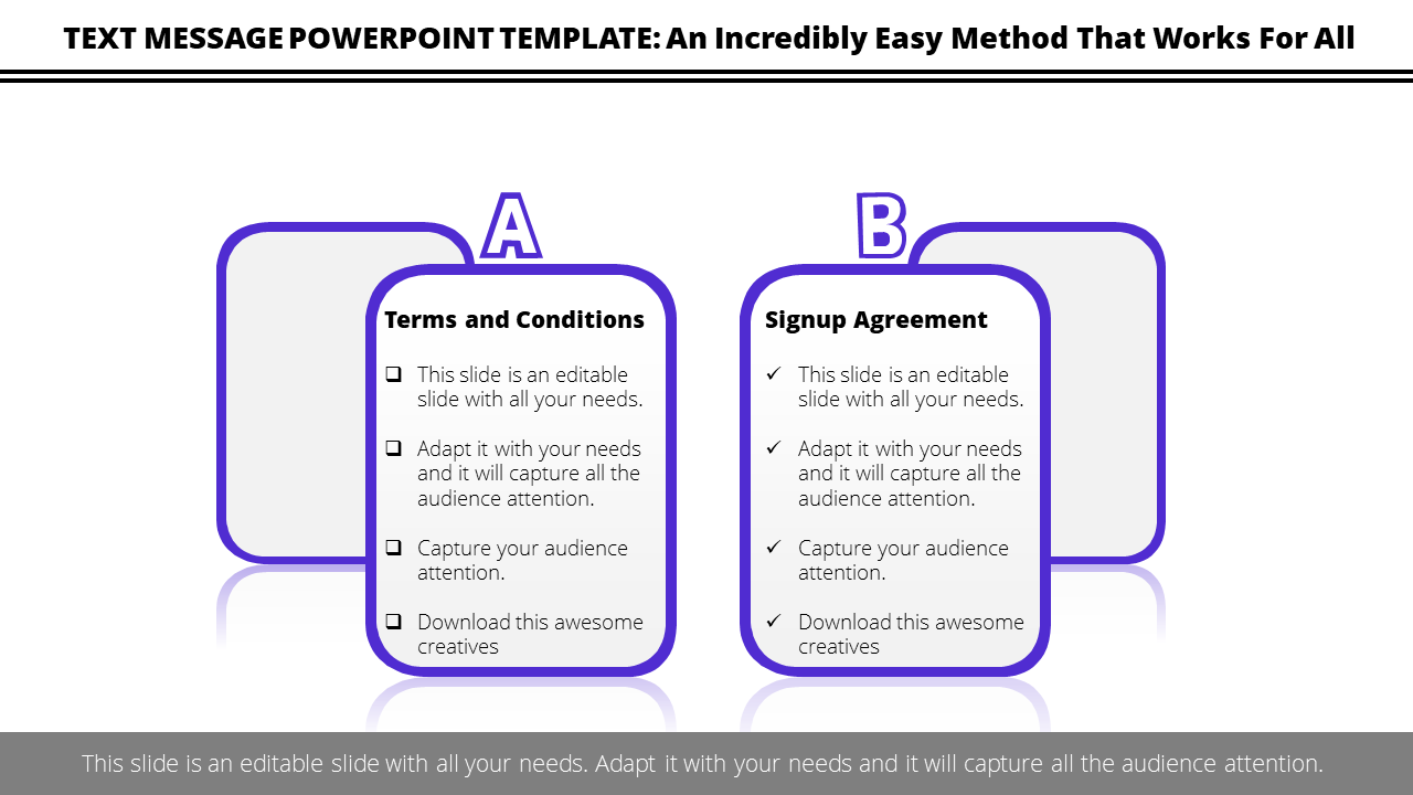 Free-Text Message PowerPoint Template Comparison Checklist