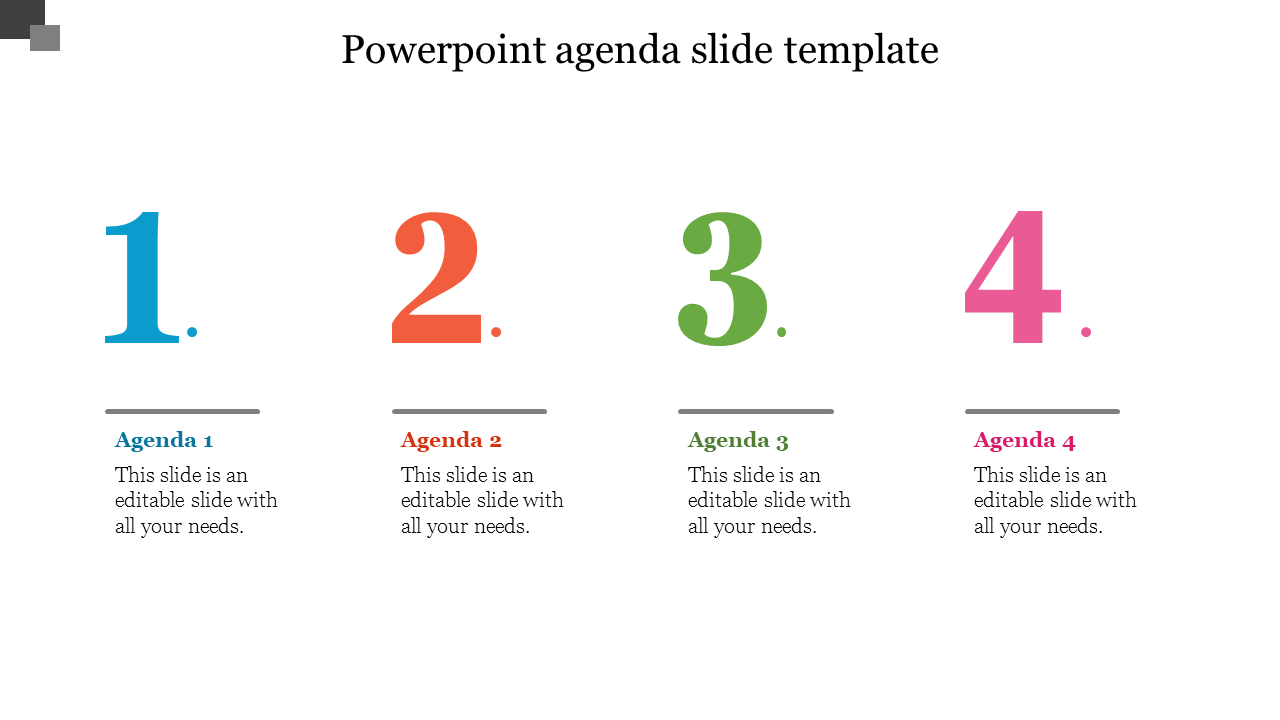 Number Powerpoint Agenda Slide Template