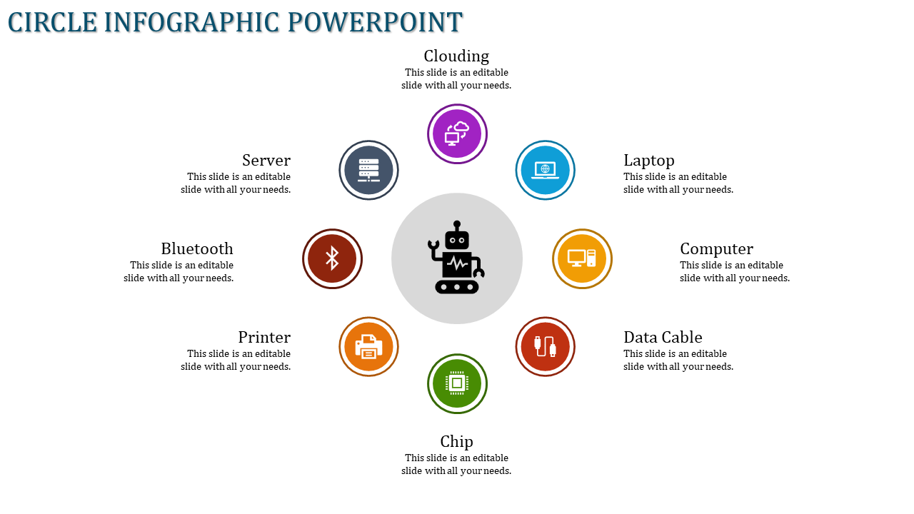 Circle Infographic Powerpoint For Technology