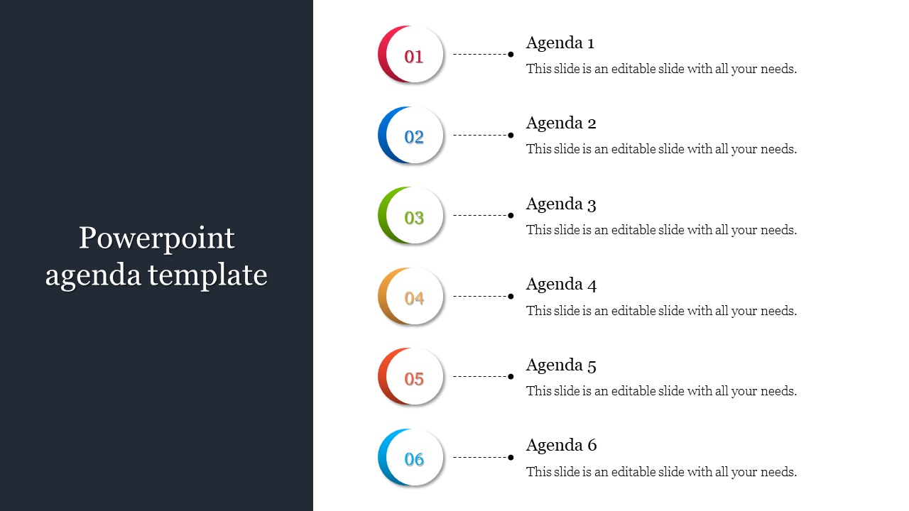 Powerpoint Agenda Template Vertical Design