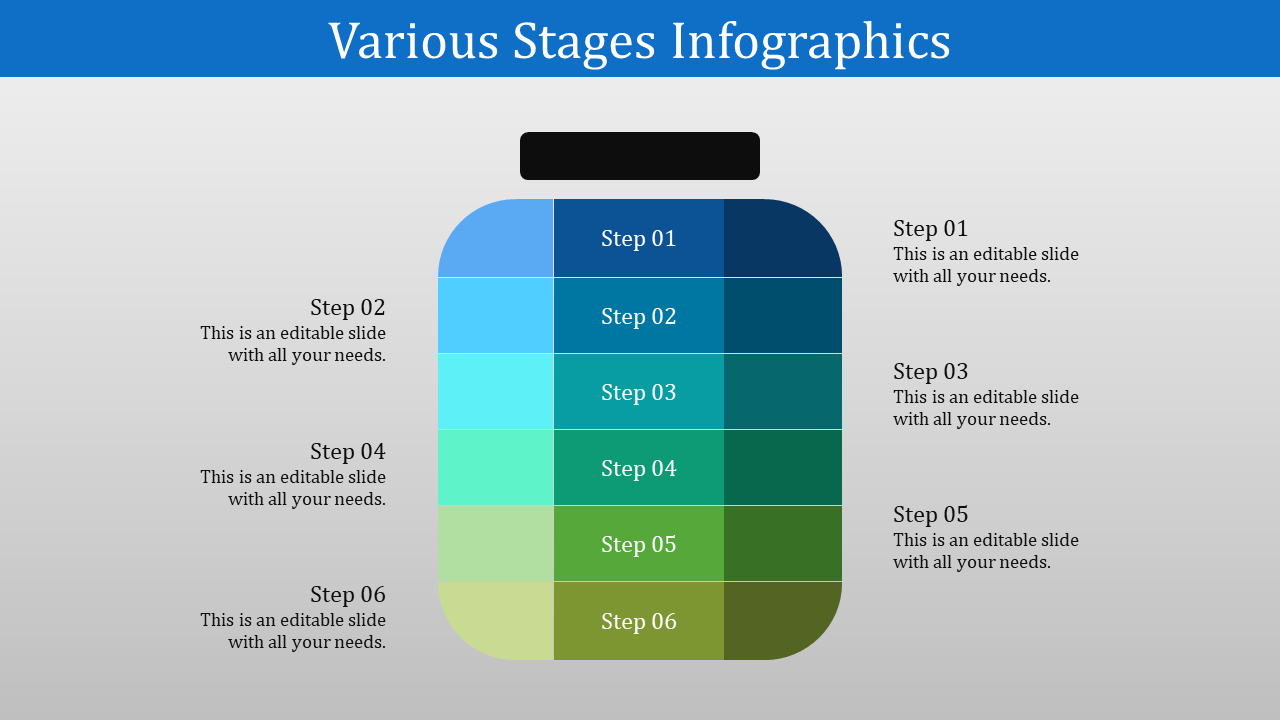 Six Stage Powerpoint Template with Bottle design
