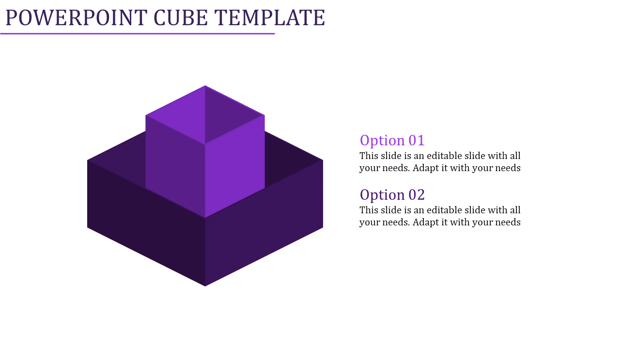 A two noded powerpoint cube template