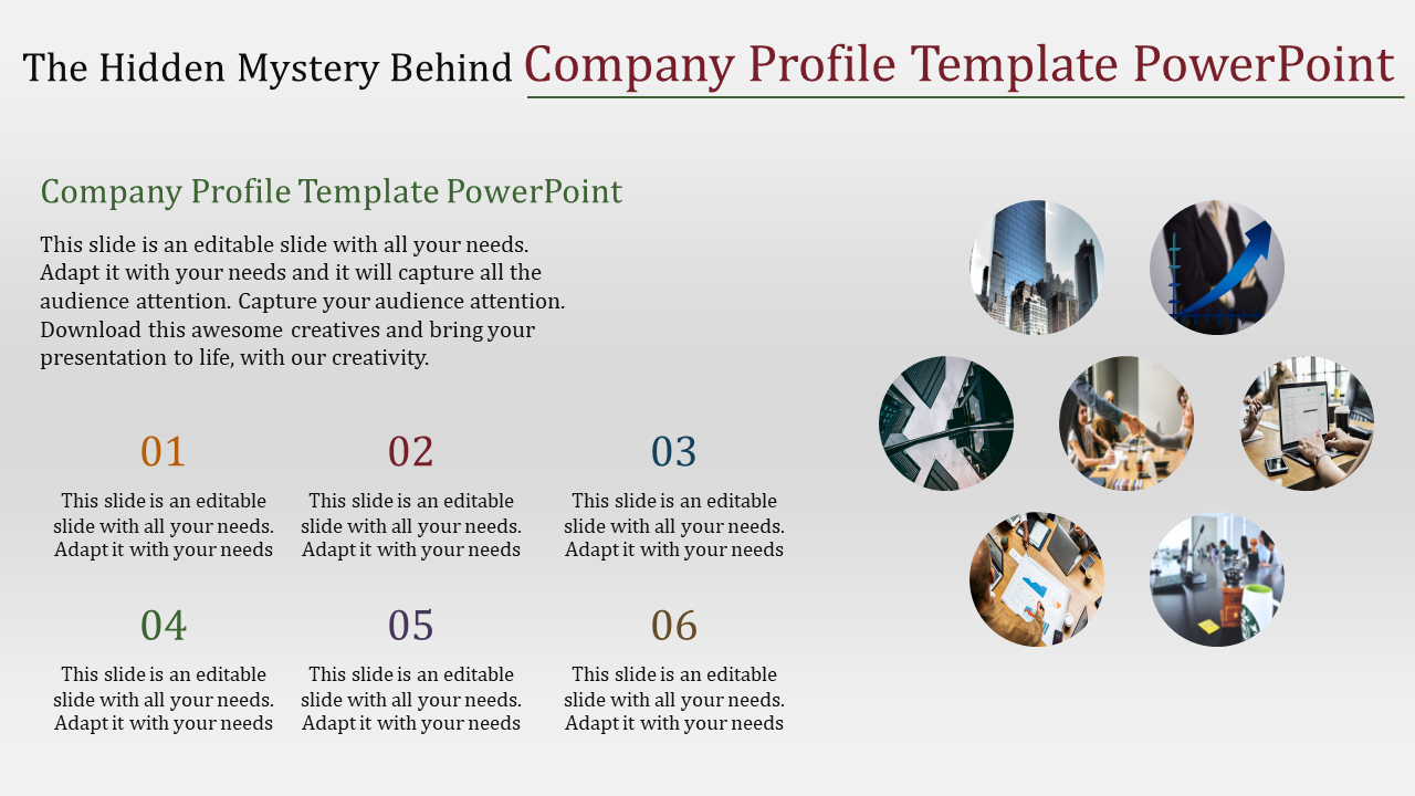 Company Profile Template Powerpoint In Circular Design