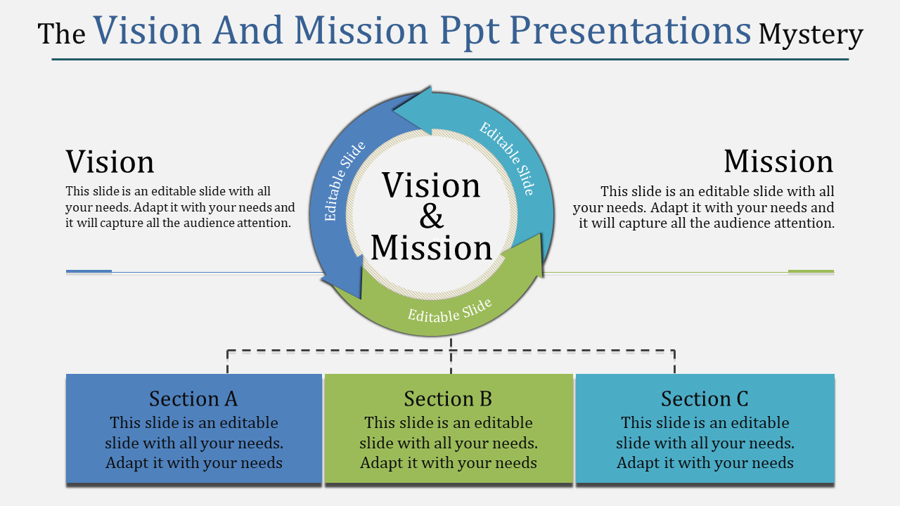vision and mission powerpoint presentations -  arrows