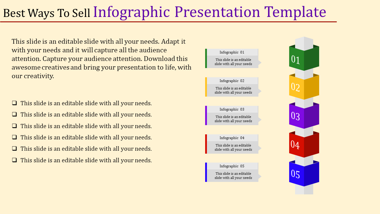 Five Stages Of Cube Fographic Presentation Template