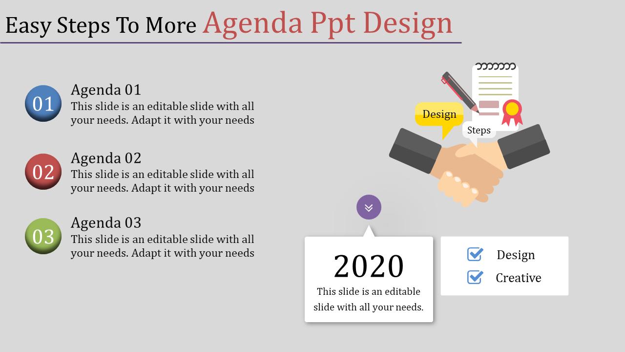 Agenda Powerpoint Design - Hand Shaking
