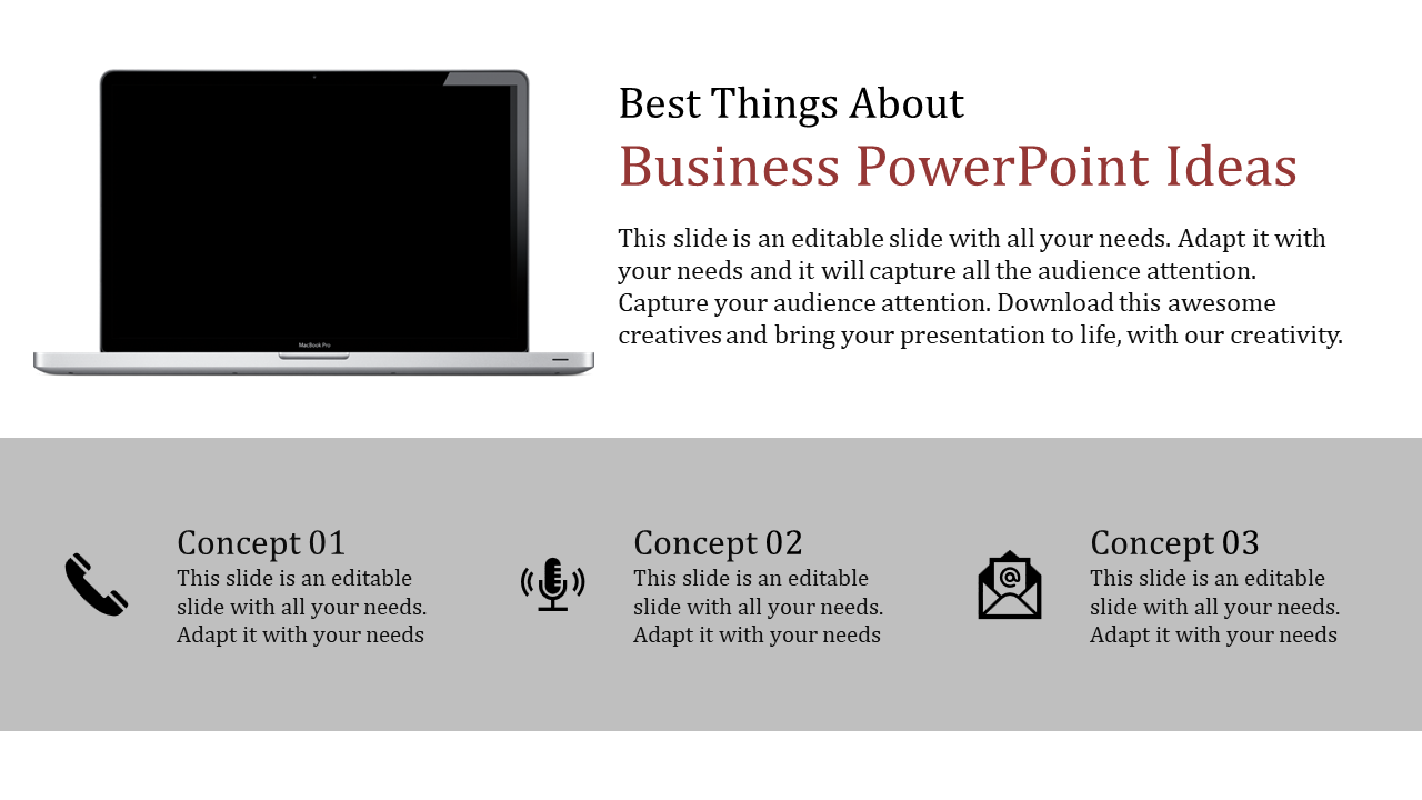 Free -  Business Powerpoint Ideas With Technology Icons