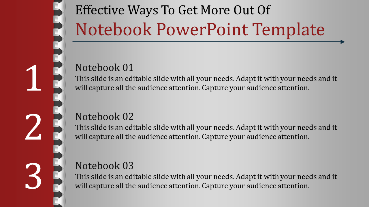 A Three Noded Notebook Powerpoint Template